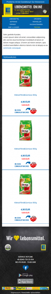 Edeka Newsletter Mobile Version